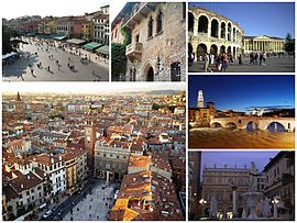 A collage of the city of Verona, Clockwise from top left to right: View of Piazza Bra from Verona Arena, House of Juliet, Verona Arena, Ponte Pietra at sunset, Statue of Madonna Verona's fountain in Piazza Erbe, View of Piazza Erbe from Lamberti Tower
