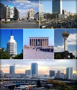 Top left: Kızılay Square, Top right: Ankara Castle walls, Middle left: The BDDK building in Ankara, Middle: Anıtkabir, Middle right: Atakule Tower, Bottom left: Ethnography Museum of Ankara, Bottom right: YHT high-speed train at the Ankara Central Station.