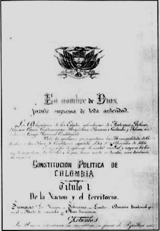 Colombian Constitution of 1886 - Page one of the original copy of the Constitution