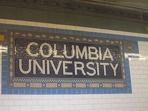 Columbia University sign in subway station in NYC