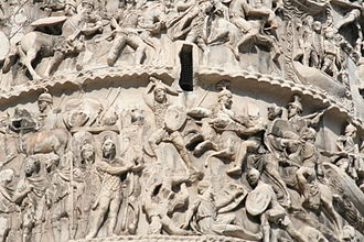Marcomannic Wars - Detail of a relief scene on the Column of Marcus Aurelius (in Rome, Italy), depicting a battle of the Marcomannic Wars, late 2nd century AD