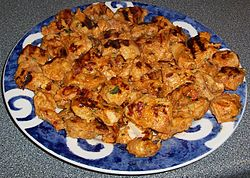 Chicken Tikka ready to be served or used in Chicken Tikka Masala.