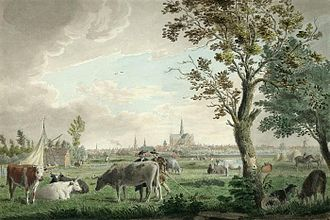 Cornelis van Noorde - View of Haarlem from the Brouwersvaart, 1767