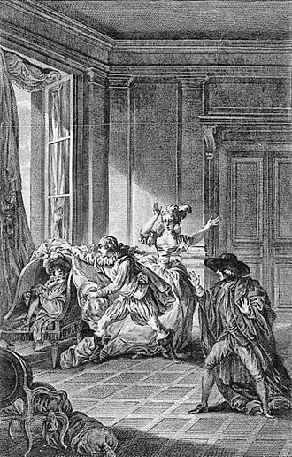 The Marriage of Figaro (play) - 1785 print showing the Count discovering Chérubin in Suzanne's bedroom