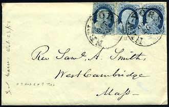 Cover (philately) - 1856 cover posted in New York City with three 1-cent stamps affixed