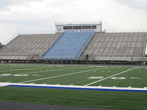 Crockett High School (Crockett, Texas) - Crockett High School Bulldogs play their home games in this stadium. The track around the field was refurbished in the spring of 2010.