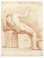 Croquisteckning föreställande naken man, sittande på modellpall, 1760-tal - Skoklosters slott - 99351.tif