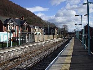 Crosskeys railway station - Image: Crosskeys railway station in 2009