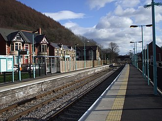 Crosskeys railway station - Image: Crosskeys railway station in 2009