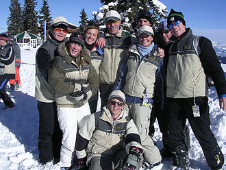 Gymnasiasten on a skiing-trip. In many cases, the booster club covers the costs of poorer students CvO 15.jpg