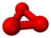 Ball and stick model of cyclic ozone