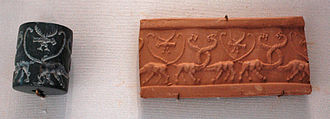 Art of Mesopotamia - Cylinder seal with serpopards, c. 3000 BC, Uruk