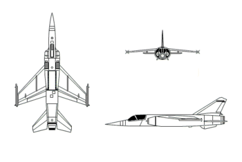 Orthographically projected diagram of the Dassault Mirage F1