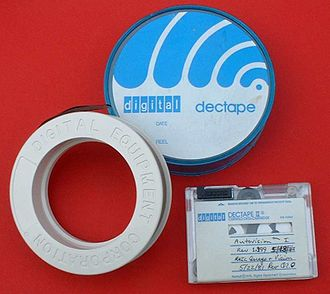 DECtape - DECtape (top and lower left) and DECtape II (lower right) removable magnetic media