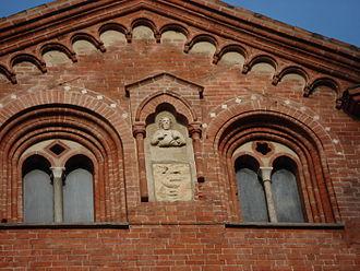 Matteo I Visconti - Image: DSC02617 Milano Sant'Eustorgio Dettaglio del fianco Scultura e stemma Foto di Giovanni Dall'Orto 15 jan 2007