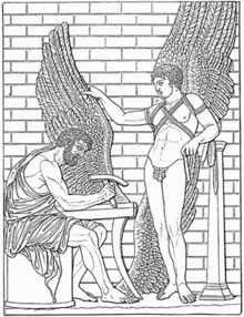 A black-and-white illustration of two figures, one bearded, sitting and building a pair of wings, another younger wearing a pair of wings.