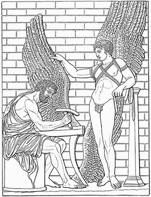 Daedalus - Daedalus constructs wings for his son, Icarus, after a Roman relief in the Villa Albani, Rome (Meyers Konversationslexikon, 1888).