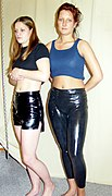 Dana and Jassi in latex shorts and leggings (4623).jpg