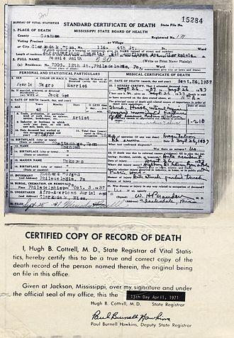 Bessie Smith - Smith's death certificate