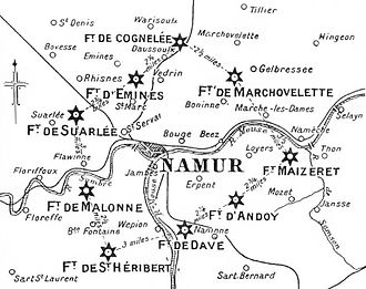 Siege of Namur (1914) - Map of the city and Fortified Position of Namur