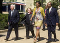 Defense.gov News Photo 100409-D-7203C-022 - First Lady Michelle Obama walks with Secretary of Defense Robert M. Gates and his wife Becky Gates during a visit to the Pentagon to thank military.jpg