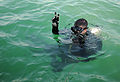 Defense.gov News Photo 101229-N-0413B-083 - U.S. Navy Senior Chief Joseph Pendino assigned to Mobile Diving and Salvage Unit 2 signals before diving under water while conducting an.jpg