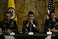 Defense.gov photo essay 070119-F-0193C-015 Gen. Peter Pace, Colombia's Defense Minister Juan Manuel Santos and Chairman of Colombia's Joint Chiefs of Staff Gen. Freddy Padilla hold a press conference in Bogota, Colombia, Jan. 19, 2007..jpg