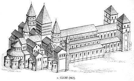 The abbey of Cluny as it would have looked in Bernard's time Dehio 212 Cluny.jpg
