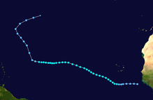 A map of a path across a portion of the Atlantic Ocean. The track starts near the west coast of Africa, and heads generally northwestward. South America is depicted on the lower-left side of the map.
