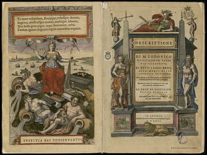 Terminology of the Low Countries - On the title page of Descrittione (1581), an account of the history and the arts of the Low Countries, no less than three names are used to indicate the Low Countries: 1) Belgia (alongside the woman figure on the left), 2) i Paesi Bassi and 3) Germania inferiore (both to the right)