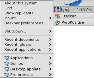 Tracker (file manager) - Deskbar of the Haiku operating system with open Deskbar Menu