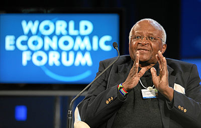 Archbishop Desmond Tutu (BD '65, MTh '66) was awarded the Nobel Peace Prize in 1984 Desmond tutu wef.jpg
