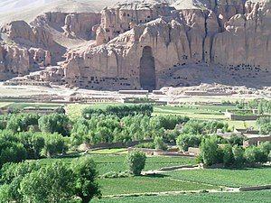 View of the Bamiyan Valley with the destroyed ...