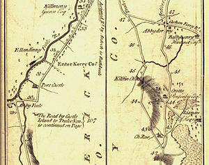 Kilflynn - A detail from Taylor and Skinner's book of 1777 showing the road from Tralee to Listowel. Kilflynn ('Kilftyn'), Abbeydorney ('Abbydorney'), Lixnaw and Crotto (seat of the Ponsonby family at the time) are clearly shown.