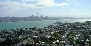 Devonport, New Zealand - Devonport and the Waitematā Harbour from atop Mount Victoria. Auckland CBD in the distance.