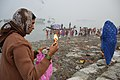 Devotee Offering Lighted Diya To Ganga - Makar Sankranti Observance - Kolkata 2018-01-14 6664.JPG