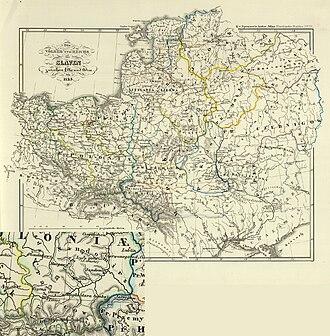 White Croatia - Image: Die Völker und Reiche der Slaven zwichen Elbe und Don bis 1125 Chrobacia