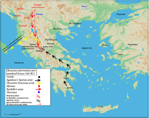Bardylis - Bardyllis's military expedition into Epirus (red)