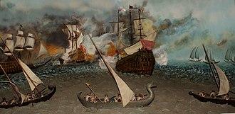 Maratha Navy - A diorama showing Maratha naval tactics, on display at the National Museum, New Delhi