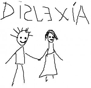 Orthographies and dyslexia - Writing and drawing performed by a child with dyslexia, displaying common behavioral symptoms.