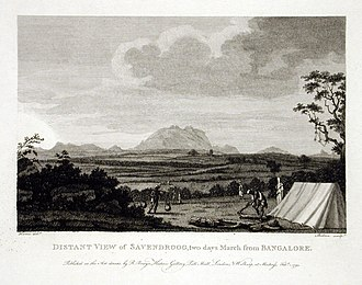Savandurga - Image: Distant View of Savendroog, Two Days March from Bangalore LACMA M.73.14.12