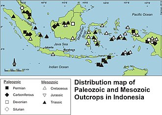 Geology of Indonesia - A summary map of the distribution of key Paleozoic and Mesozoic outcrops in Indonesia.