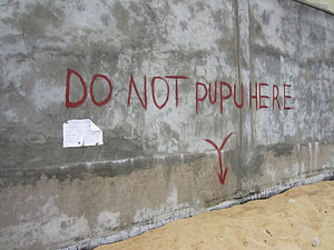 "Environmental issues in Liberia - ""Do Not Pupu Here"" - A sign on a Monrovia beach asking people not to defecate in the area, 2012."