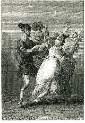 Doll Tearsheet - The seemingly pregnant Doll being arrested. Engraving by Richard Rhodes
