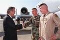 Donald H. Rumsfeld greets SSG Ward and Capt Rasmussen at Incirlik Air Base.jpg