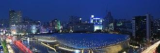 Dongdaemun Design Plaza - Image: Dongdaemun Design Plaza at night, Seoul, Korea