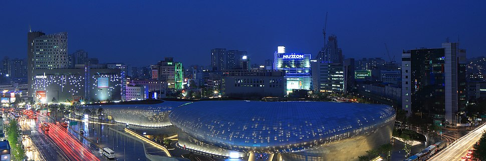 Dongdaemun Design Plaza at night, Seoul, Korea