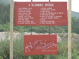 Dredge No. 4 - A sign at the National Historic Site depicting the parts of the dredge.