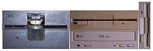 """Drive bay - From left to right: full-height 5.25"""" drive, two half-height 5.25"""" drives, and (sideways) a 3.5"""" drive"""