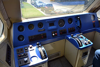 Advanced Passenger Train - Driving controls of the Advanced Passenger Train (APT-P) at Crewe Heritage Centre.